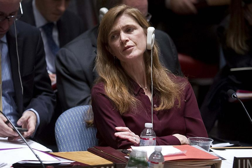 United States Ambassador to the United Nations Samantha Power listens during a meeting of the Security Council at the United Nations on Feb 17. -- PHOTO: REUTERS