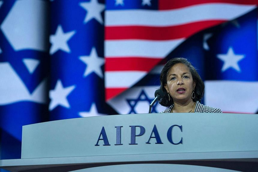 US National Security Advisor Susan Rice addressing the American Israel Public Affairs Committee policy conference in Washington, DC, on March 2, 2015. -- PHOTO: AFP