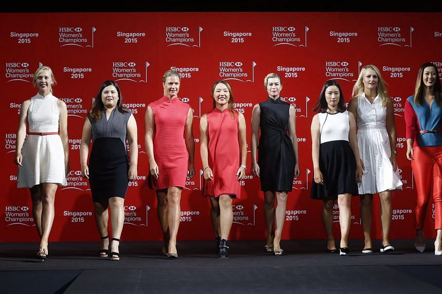 (Left to right) Jessica Korda, Inbee Park, Suzanne Pettersen, Lydia Ko, Paula Creamer, Chella Choi, Anna Nordqvist and Michelle Wie during a catwalk segment of the HSBC Women's Champions press conference at Raffles City Convention Centre on March 3,&