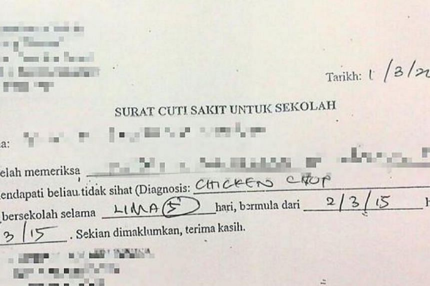 "A clinic in Malaysia has diagnosed a student as suffering from ""chicken chop"" in a blunder that has caused much amusement and embarassment. -- PHOTO: THE STAR/ASIA NEWS NETWORK"