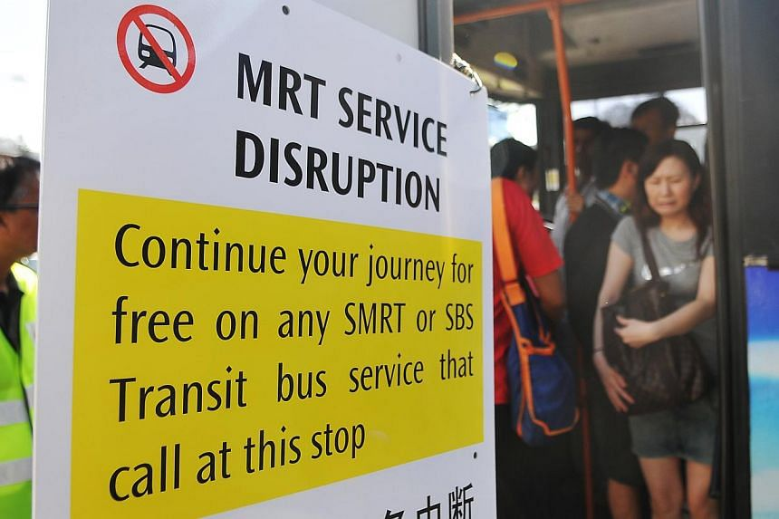 Train service between Labrador Park and HarbourFront on the Circle line was disrupted on Tuesday morning for about 15 minutes due to a signal fault. -- PHOTO: THE NEW PAPER