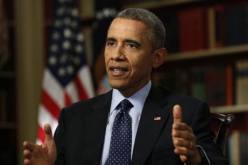 US President Barack Obama speaking during an interview with Reuters in the Library of the White House in Washington on March 2, 2015. -- PHOTO: REUTERS