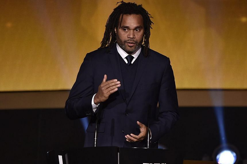 French former football player Christian Karembeu presents the 2014 Fifa Puskas Award for best goal during the Fifa Ballon d'Or award ceremony at the Kongresshaus in Zurich on Jan 12, 2015.
