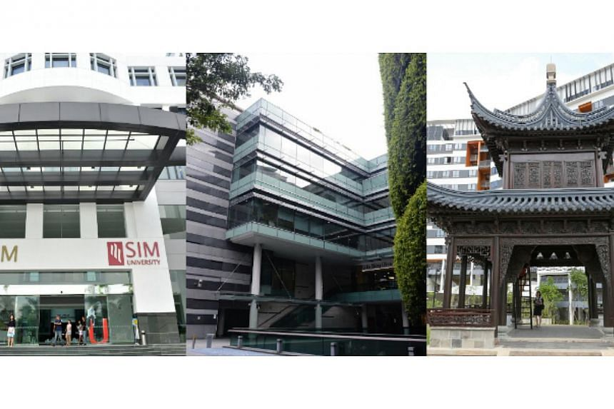 Campuses of (from left) SIM University, Singapore Management University and Singapore University of Technology and Design. Singapore's six public universities are striving to be different in order to attract the best students. -- PHOTOS: ST FILE