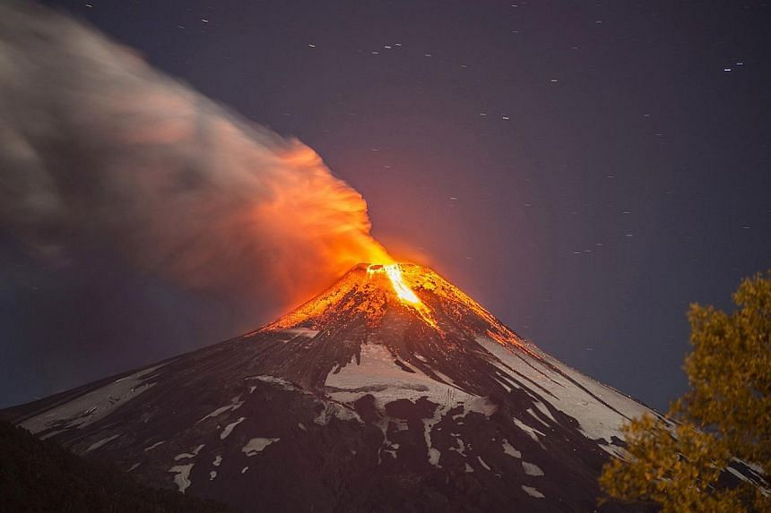 Villarrica volcano, which is located in southern Chile and is one of the South American nation's most active,began erupting on March 3, 2015, forcing the evacuation of some 3,600 people in nearby villages, the government said. -- PHOTO: AFP&nbs