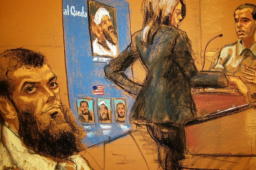 Abid Naseer (left), 28, listens as Assistant US Attorney Zainab Ahmad questions a witness during his trial, in this courtroom sketch. Naseer is on trial on U.S. charges that he took part in an al Qaeda plot to carry out bombing attacks in the United