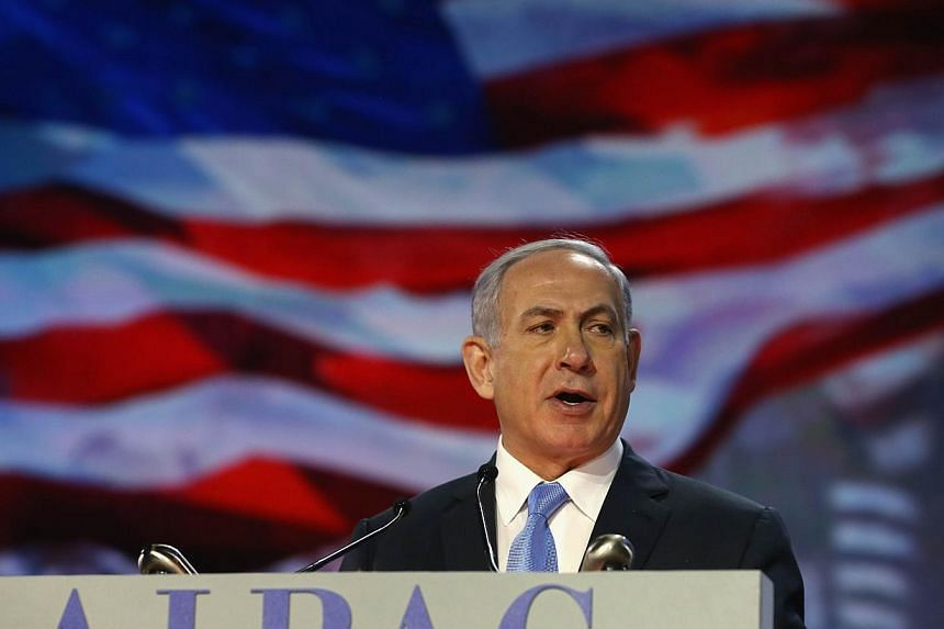 Israeli Prime Minister Benjamin Netanyahu speaks during the American Israel Public Affairs Committee (AIPAC) 2015 Policy Conference on Monday in Washington, DC. -- PHOTO: AFP