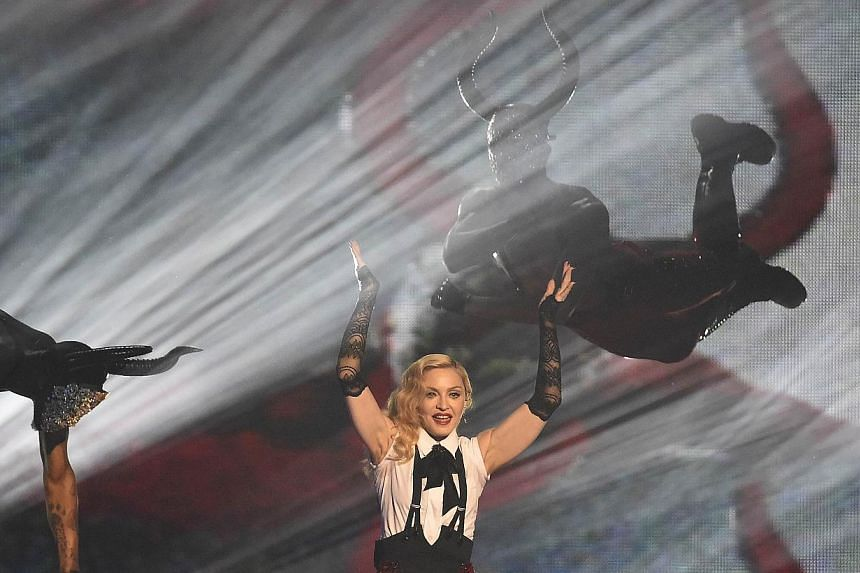 Madonna performs at the BRIT music awards at the O2 Arena in Greenwich, London on Wednesday last week. -- PHOTO:REUTERS
