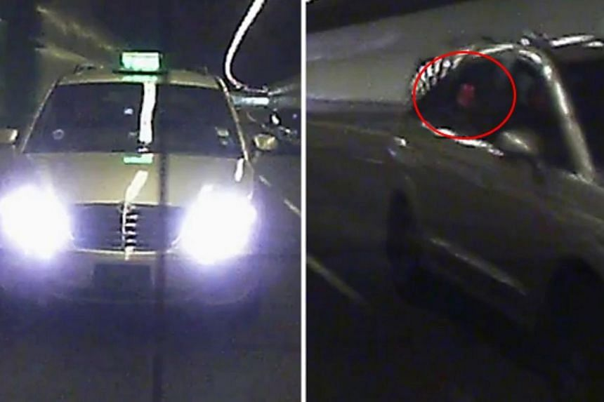 A former relief taxi driver who terrorised a motorist on the Kallang-Paya Lebar Expressway (KPE) tunnel last month was jailed for four weeks on Wednesday for the rash act. -- PHOTO: STOMP