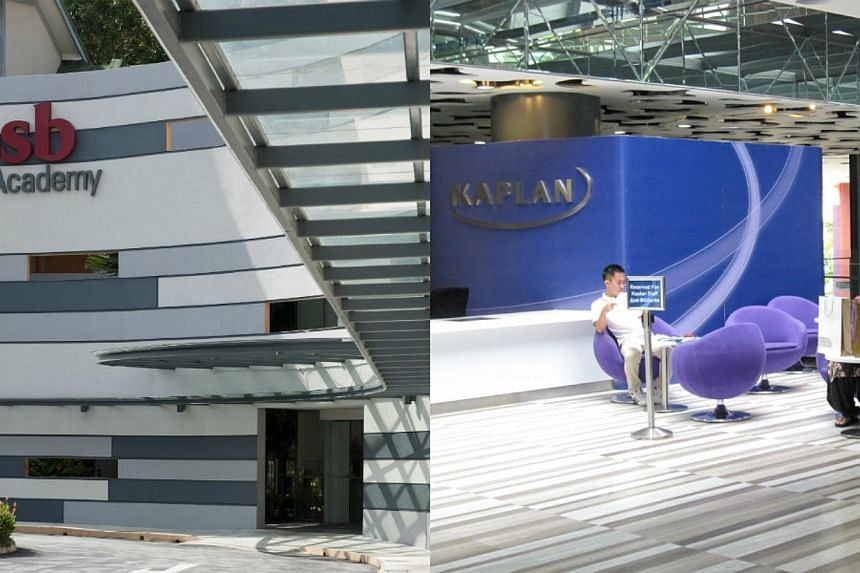 Campus of PSB Academy (left) and the lounge area of Kaplan Higher Education Academy (right). In the last two to three years, private institutions are moving beyond offering business and management degrees and have brought in more degree courses in ni