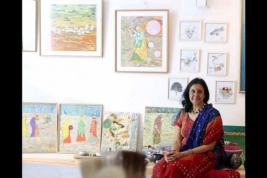 Indian artist Madhu Jain uses the Nihonga technique while drawing on Indian imagery. -- PHOTO: COURTESY OF MADHU JAIN