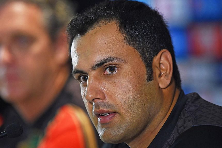 Afghanistan's captain Mohammad Nabi speaks at a press conference ahead of the 2015 Cricket World Cup Pool A match between Australia and Afghanistan in Perth on March 3, 2015. -- PHOTO: AFP