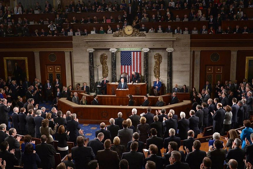 Israel's Prime Minister Benjamin Netanyahu (centre) addresses Congress on March 3, 2015 at the US Capitol in Washington, DC. -- PHOTO: AFP