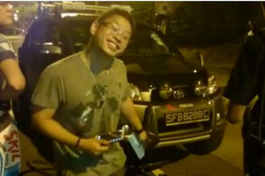 The driver who allegedly heckled national cyclist Vincent Ang after his car was involved in a collision with Ang's bicycle. -- PHOTO: SCREENGRAB FROM VINCENT ANG'S FACEBOOK