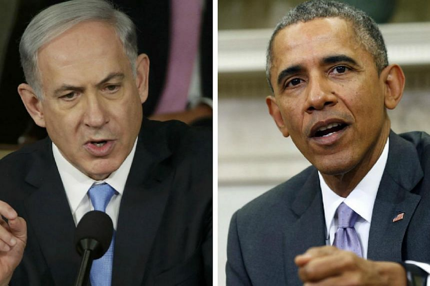 Israeli Prime Minister Benjamin Netanyahu (left) and US President Barack Obama have both vowed to prevent Iran from acquiring nuclear weapons, but they have very different views of how to do that.-- PHOTO: REUTERS
