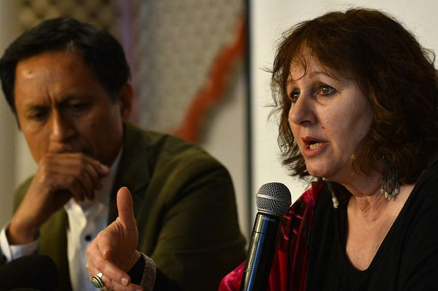 Leslee Udwin (right), director of the documentary India's Daughter, gestures during a press conference alongside her co-producer, Indian TV journalist Dibang (left), in New Delhi on March 3, 2015. Hernew documentary based on the fatal gang-rape