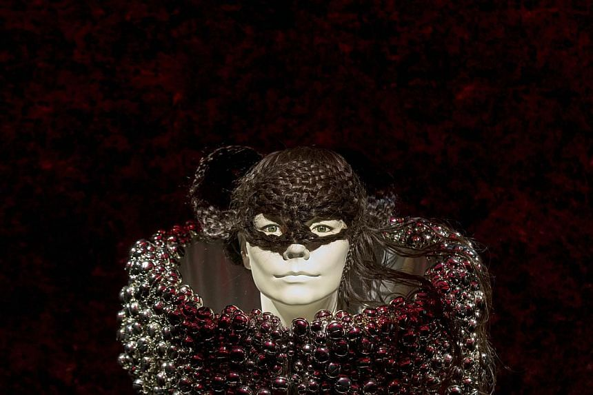 Fashion is displayed during the exhibition Bjork at the Museum of Modern Art in New York on March 3, 2015. -- PHOTO: REUTERS