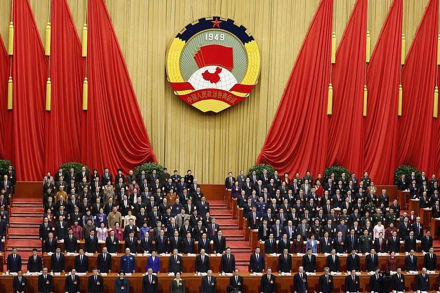 The opening session of the third plenum of the 12th National Committee of the Chinese People's Political Consultative Conference (CPPCC) at the Great Hall of the People in Beijing on March 3, 2015. -- PHOTO: EPA