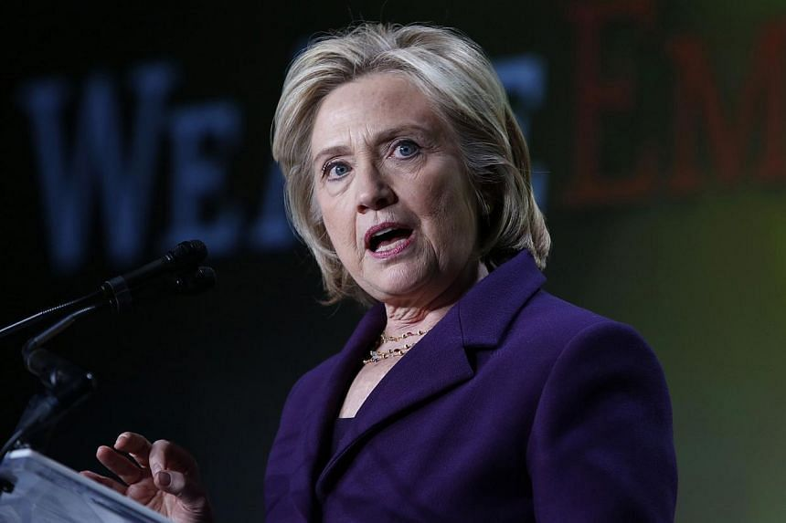 Former US secretary of state Hillary Clinton speaking at the 30th anniversary of Emily's List in Washington on March 3, 2015. -- PHOTO: REUTERS