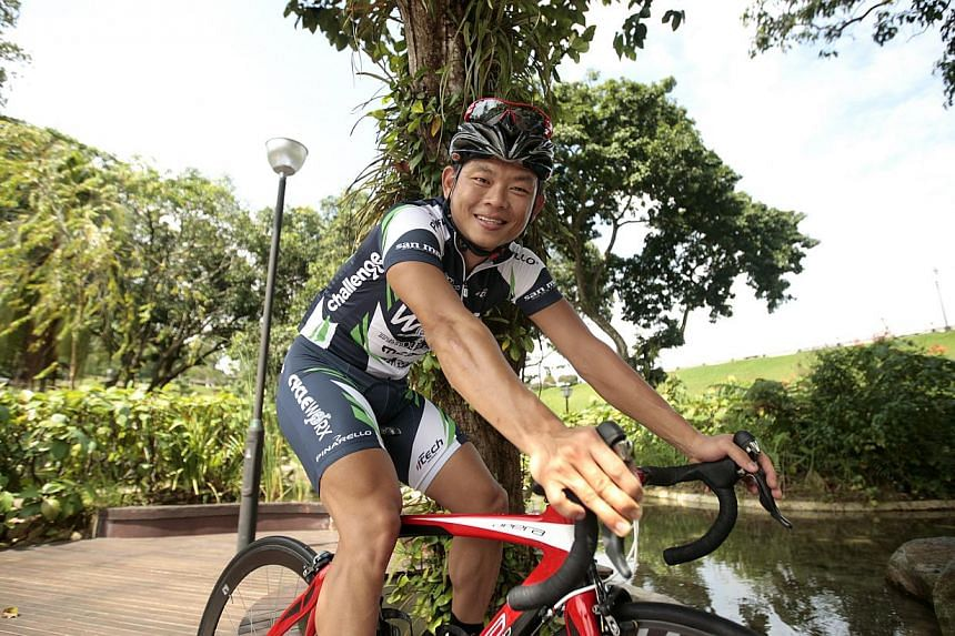 National cyclist Vincent Ang, who was involved in a collision with a car on Wednesday morning. -- PHOTO: ST FILE