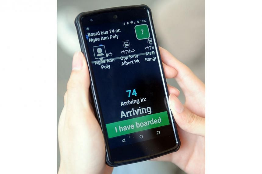 TrAVEl (Travel Assistant for the Visually Impaired and the Elderly) guides the user throughout his journey, including any change of buses, by using GPS to track where he is. -- ST PHOTO: TIFFANY GOH
