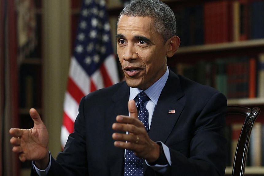 US President Barack Obama speaks during an exclusive interview with Reuters in the Library of the White House in Washington on Monday. -- PHOTO: REUTERS