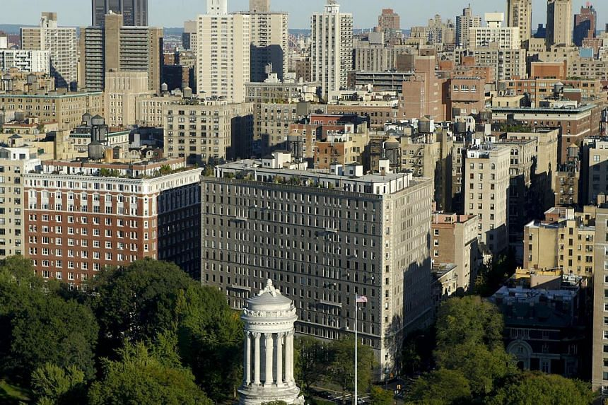 Residential properties on the Upper West Side of Manhattan, New York, are seen in this 2010 aerial file photo.  A luxurious New York apartment furnished with bullet-proof panic rooms and a sushi island bar is on the market for an eye-wateri