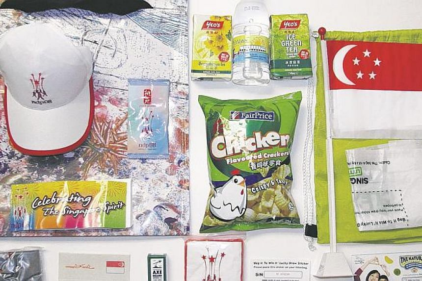 The contents of the National Day funpack in 2008.
