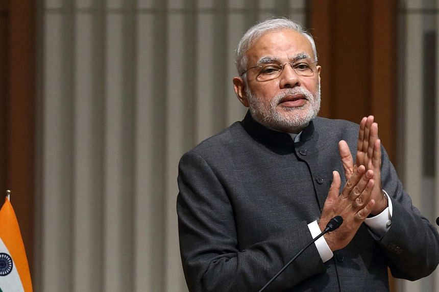 Indian Prime Minister Narendra Modi will offer island nations in the Indian Ocean a broad range of military and civilian assistance next week in a bid to wrest influence from China. -- PHOTO: BLOOMBERG