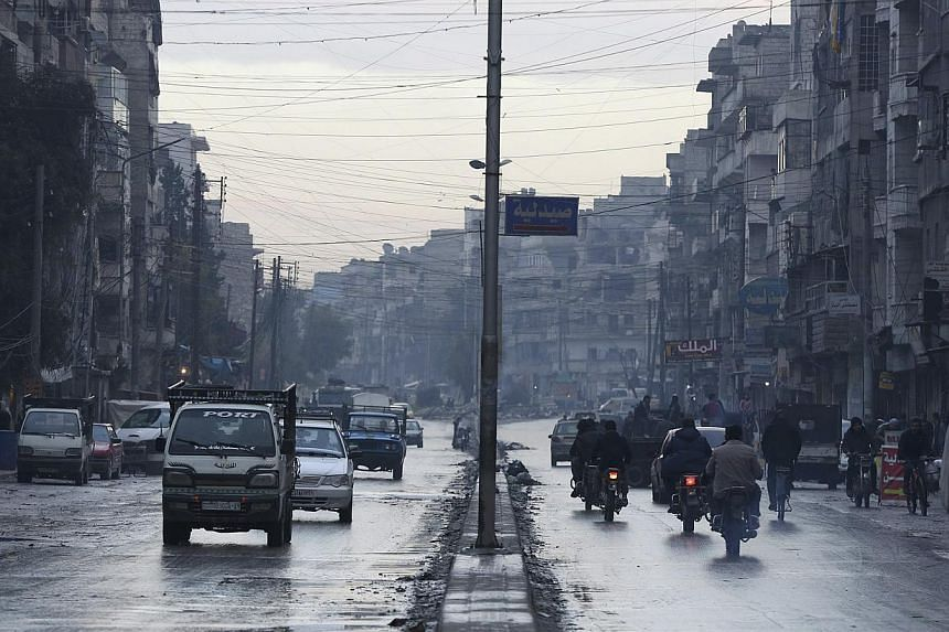 A general view shows a street in a rebel-held area of Aleppo Jan 2, 2015. Dozens were killed Wednesday when Syrian rebels set off a powerful tunnel explosion targeting an intelligence headquarters in Aleppo and clashed with regime forces, a monitor s