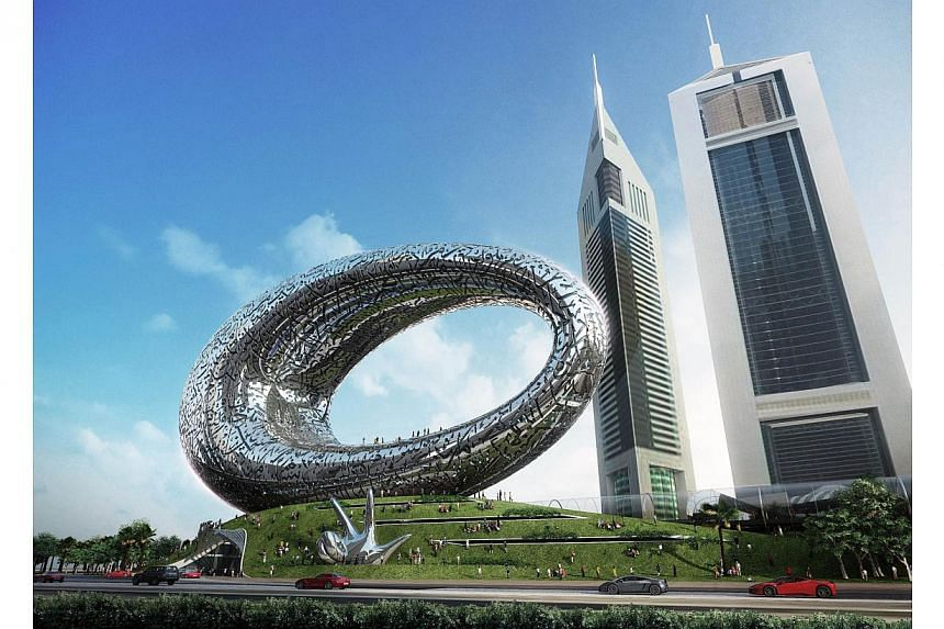 A handout computer generated image made available by the Dubai government on March 4, 2015, shows the exterior of the Museum of the Future that will be built on a main road of Dubai, at an estimated cost of $185 million. The structure will be finishe