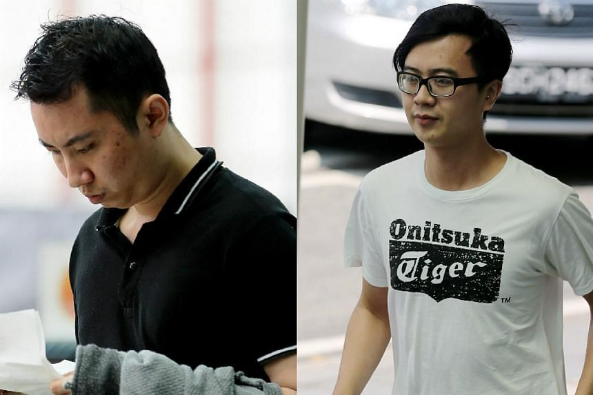 Two of the suspects are Tan Teck Seng (left) and Kelvin Lim Qi Xian (right), both 27, who were charged with knowingly living off the earnings of a 22-year-old Vietnamese prostitute. -- ST PHOTOS: WONG KWAI CHOW