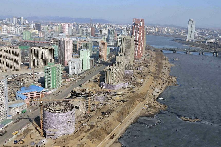 An aerial view of Pyongyang in an undated photo released by North Korea's Central News Agency on Feb 15, 2015. -- PHOTO: REUTERS