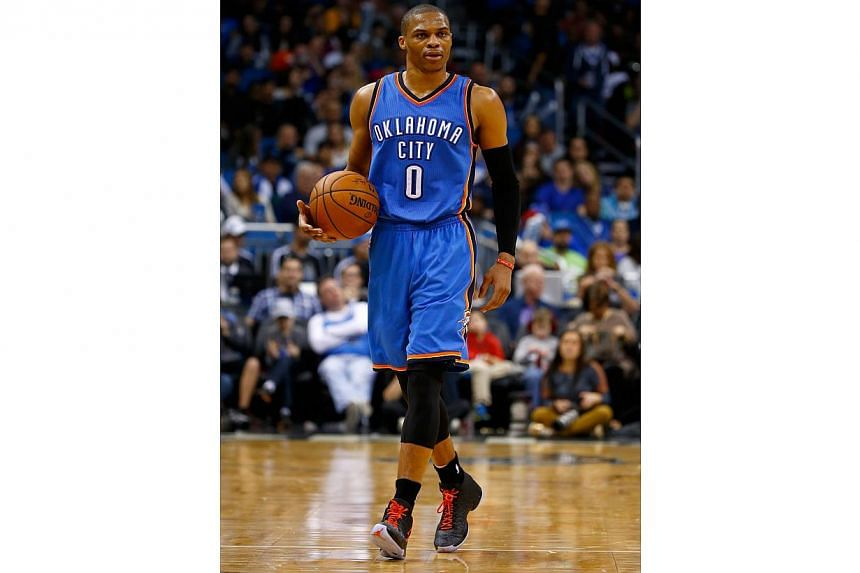 Russell Westbrook #0 of the Oklahoma City Thunder on Jan 18, 2015. -- PHOTO: AFP