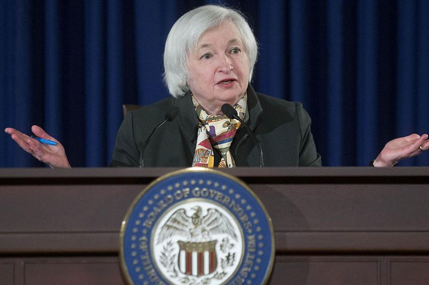 US Federal Reserve chair Janet Yellen speaking during a news conference following a Federal Open Market Committee meeting in Washington, DC on March 18, 2015. -- PHOTO: BLOOMBERG