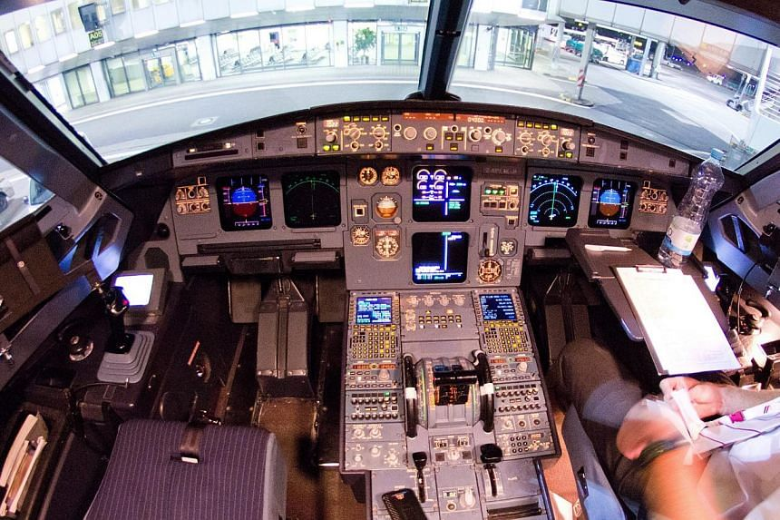A picture of the cockpit of the crashed Germanwings A-320 aircraft taken at the airport in Dusseldorf, Germany, after one of the last flights prior to its crash in the French Alps on Tuesday.