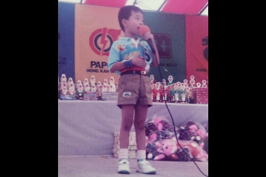 Musician/conductor Wong Kah Chun at a singing competition when he was five.