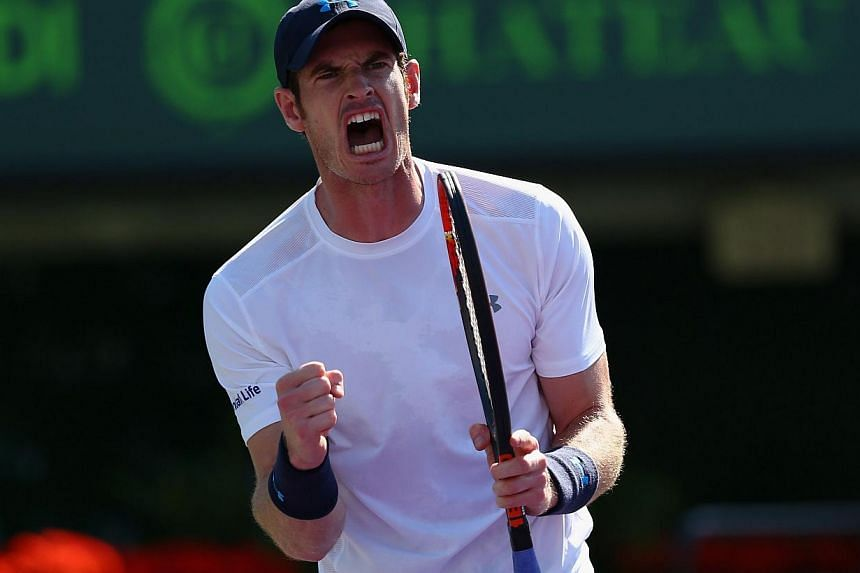 Andy Murray of Great Britain celebrates a point against Kevin Anderson of South Africa in their fourth round match at the Miami Open on March 31, 2015. Murray won the 500th match in his career after beating Kevin Anderson 6-4 3-6 6-3 on T