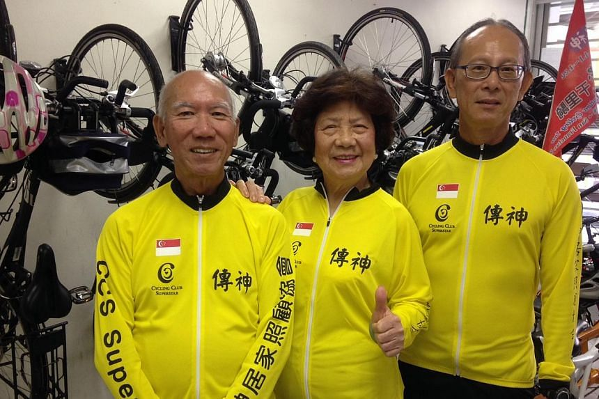 (From left) Mr Chan Mun Thong, 68, Ms Chen Yun, 84, and Mr Peter Song, 66, are three of the cyclists who will be making the eight-day trip to Penang. -- ST PHOTO: CHONG ZILIANG