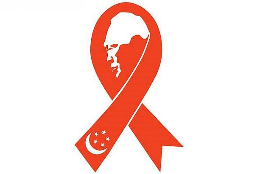 The creators of the now famous icon of a black ribbon framing the profile silhouette of the late Mr Lee Kuan Yew have come up with a red version. -- PHOTO: ALEX YAM/FACEBOOK
