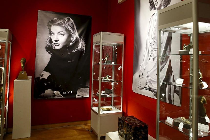 Pieces from The Lauren Bacall Collection are seen during a press preview at Bonhams' Madison Avenue gallery in New York March 24, 2015. The 700-piece collection of works from the acclaimed actress is being sold at Bonhams' Madison Avenue galleries on