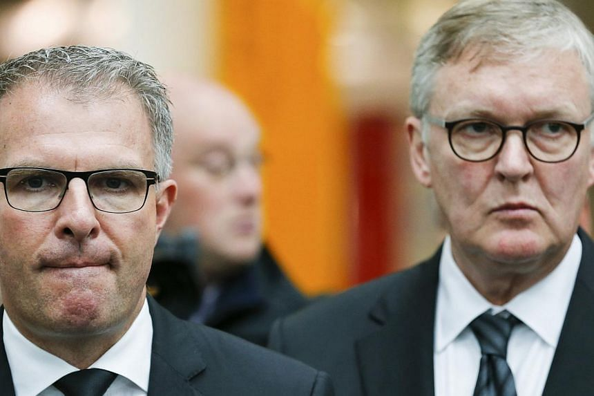 Chief executives Carsten Spohr (left), of Lufthansa, and Thomas Winkelmann (right), of Germanwings, speak to the media in Cologne Bonn airport March 25, 2015.The chief executives of Lufthansa and Germanwings will on Wednesday travel to the area
