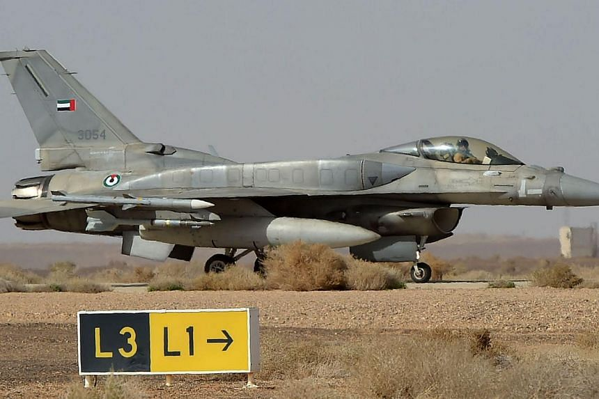 An F-16 jet belonging to the UAE armed forces. US President Barack Obama has approved the delivery of a dozen F-16 aircraft to Egypt that had been frozen after a military-led takeover. -- PHOTO: AFP