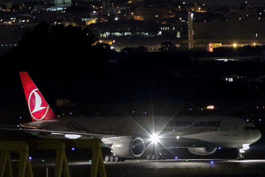 Turkish Airlines flight TK15 landing in Sao Paulo on March 30, 2015. A Turkish Airlines flight to Lisbon was diverted back to Istanbul on Wednesday after unaccompanied baggage was found on board, a spokesman told Reuters. -- PHOTO: AFP