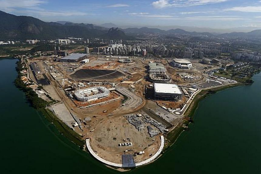 An aerial view of the Rio 2016 Olympic Park construction site in Rio de Janeiro Feb 26, 2015. Tickets for the Rio Olympics went on sale Tuesday with the first batch of a total 7.5 million tickets made available online to thousands of fans who ha