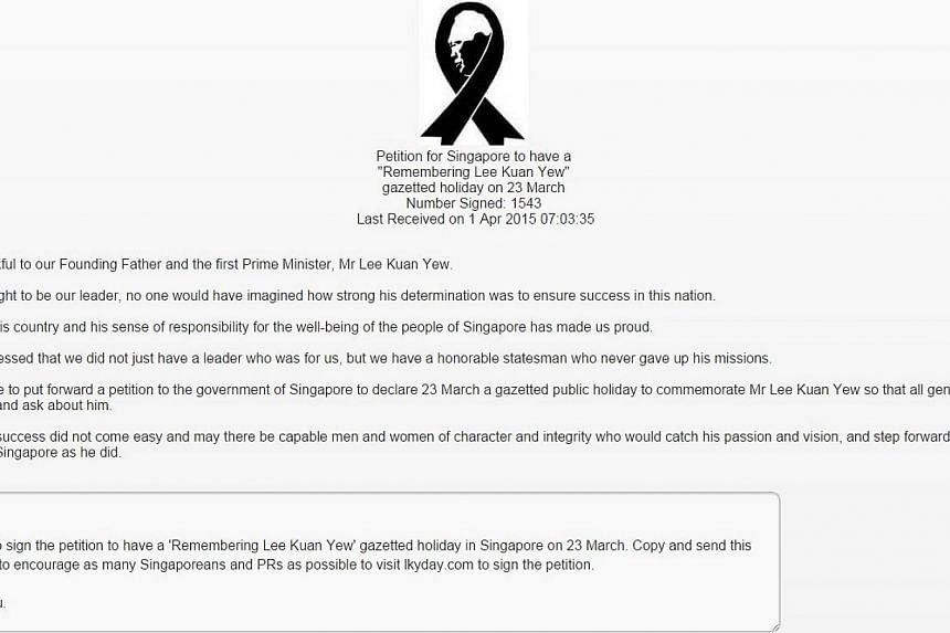 A screenshot from the petition, which asked Singaporeans to give their e-mail addresses as well as NRIC and telephone numbers. -- PHOTO: SCREENGRAB FROM LKYDAY.COM