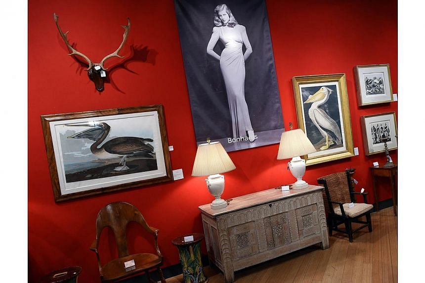 Some of the items from the Lauren Bacall collection are seen on March 24, 2015, at Bonham's in New York. -- PHOTO: AFP