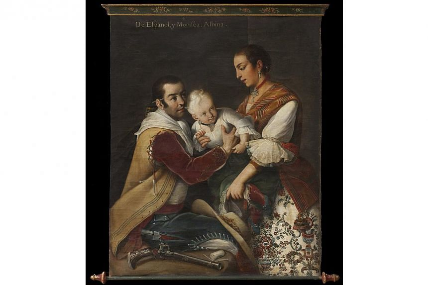 The painting, From Spaniard and Morisca, Albino, is lauded as a masterpiece of colonial Mexican art depicting mixed-race families of the era. -- PHOTO: REUTERS