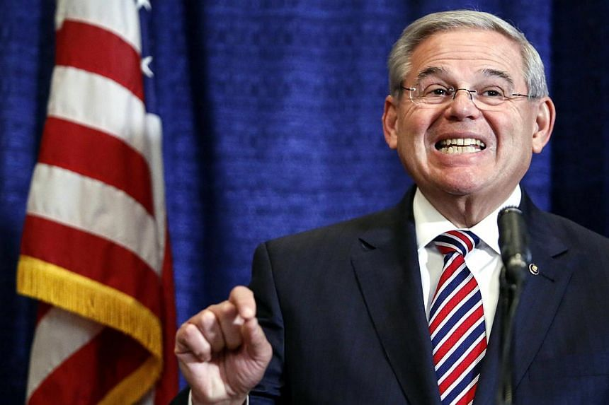 "Saying he had always acted in accordance with the law, Mr Robert Menendez said: ""At the end of the day, I will be vindicated and they will be exposed"". -- PHOTO: AFP"