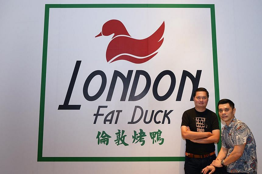 London Fat Duck, opening at Scotts Square next month, is a joint venturebetween Mr Mervin Goh (left ) of Akashi Group and Mr Tan Kim Siong (right) of Fei Siong Group. -- ST PHOTO: DANIEL NEO
